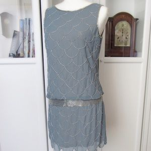 Adrianna Papell Slate Blue Beaded drop waist Dress